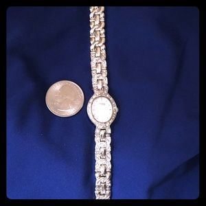 Caravelle by Bulova watch. Silver w tiny crystals.